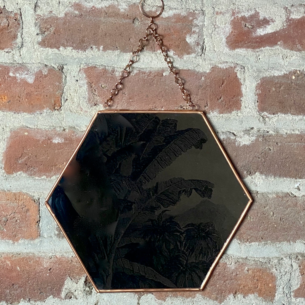 Copper Hexagonal Mirror on Chain