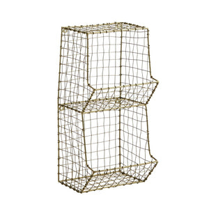 Wire Wall Rack - two tier in Antique Brass finish