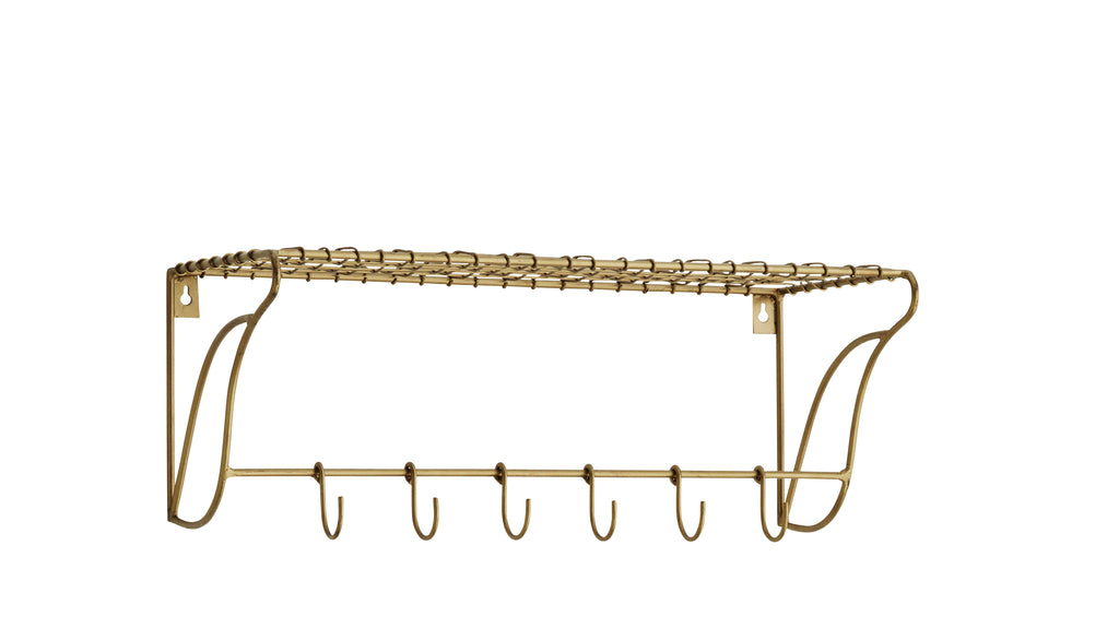 Wire Wall Shelf with 6 hooks in Antique Brass finish