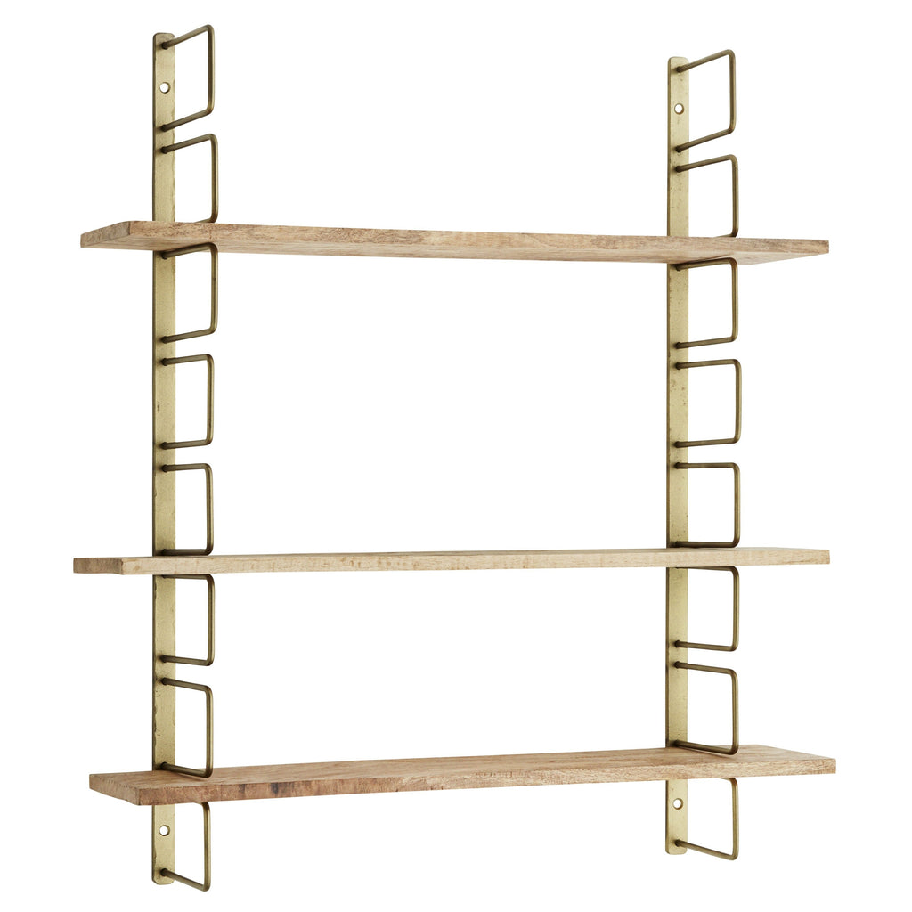 Brass Wall Rack With Mango Wood Shelves