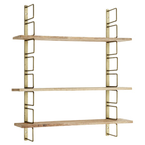Brass Wall Rack With Wood Shelves