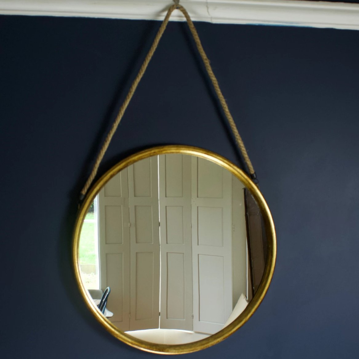 Large Round Gold Mirror On Rope