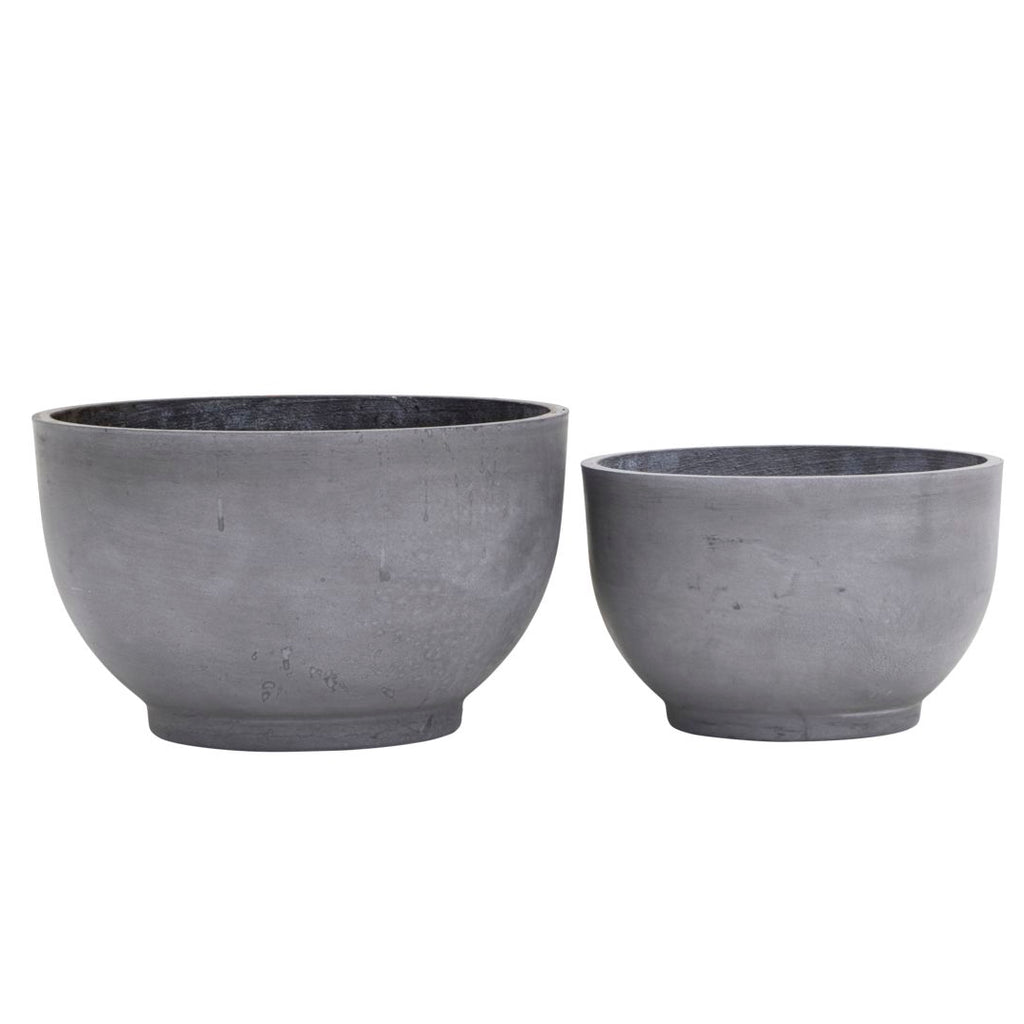 Gard Concrete Bowl Shaped Planters Set