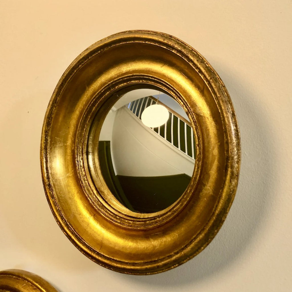 Gold Chunky Round Convex Mirror