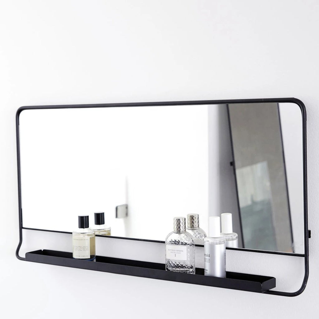 Black Horizontal Mirror With Shelf
