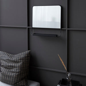 Black Square Mirror With Shelf