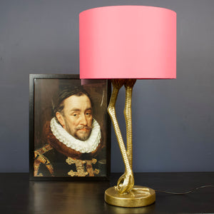 Gold Flamingo Leg Table Lamp with Pink Shade