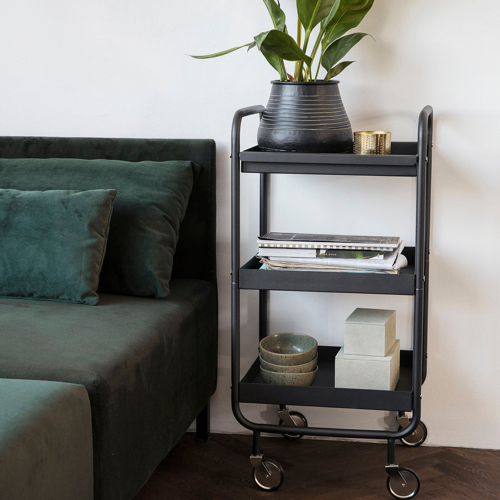 Black Steel Roll Trolley