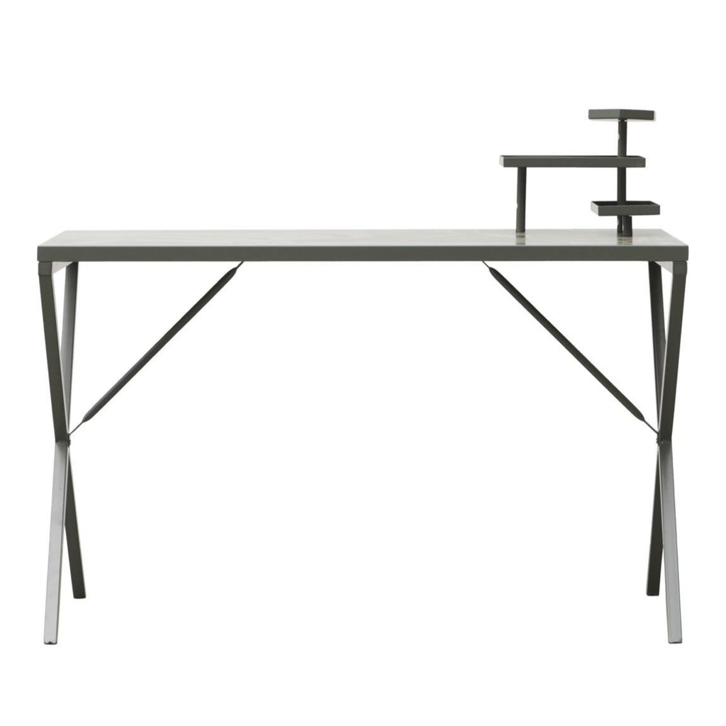 green metal desk