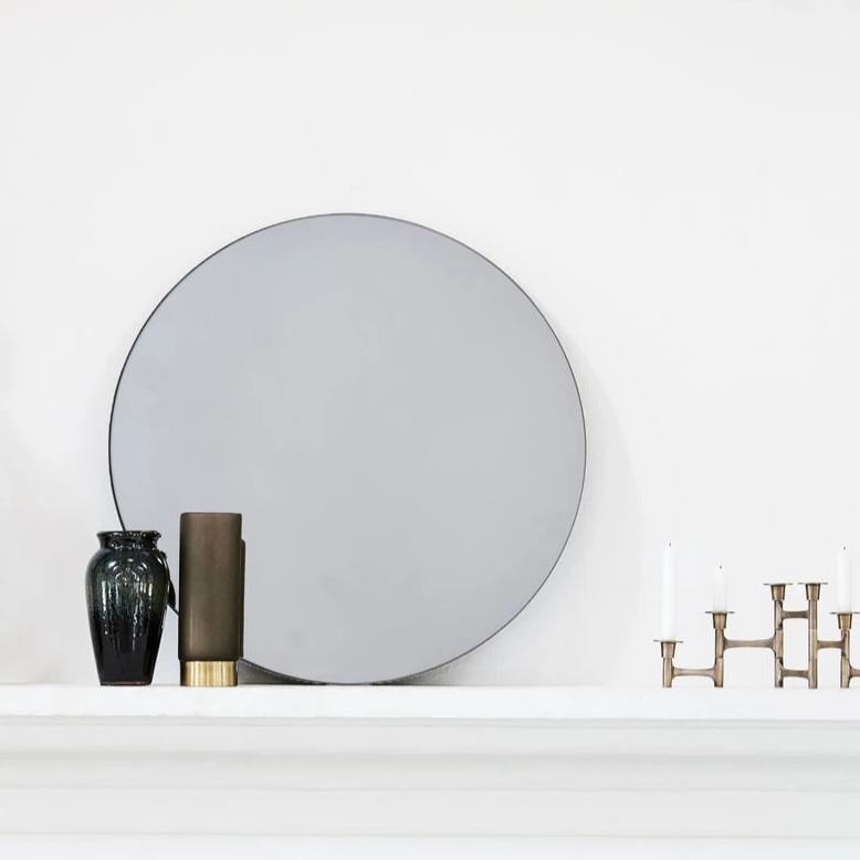 Grey Round Wall Mirror