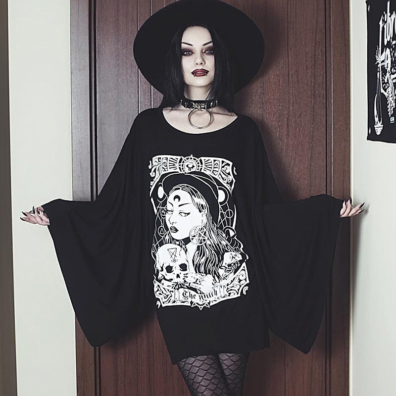 InsGoth Witch Printed Gothic Dress Autumn Flare Long Sleeve Black Loose  Plus Size Stretchy Women Dress Party Lady Goth Dresse
