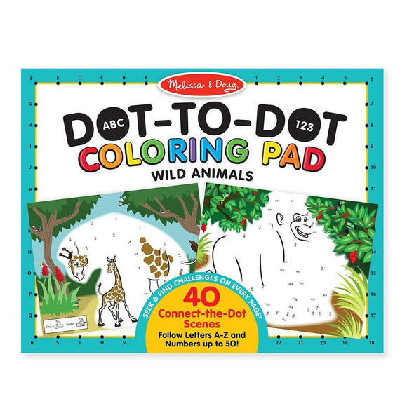 ABC - 123 Dot-to-Dot Coloring Pad - Wild Animals