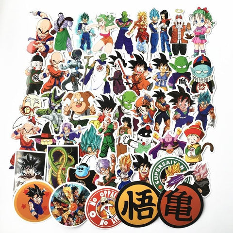 1MB 2018 50Pcs/lot Anime Dragon Ball Stickers Super Saiyan Goku Stickers Decal For Snowboard Luggage Car Fridge Laptop Sticker - MH