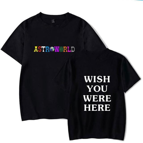 2018 New Fashion Hip Hop T Shirt Men Women Travis Scotts ASTROWORLD Harajuku T-Shirts WISH YOU WERE HERE Letter Print Tees Tops - MH