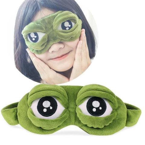 1MB 2018 New Green Frog Cartoon Cute Eyes Cover The Sad 3D Eye Mask Cover Sleeping Rest Sleep Anime Funny Gift sleeping eye mask - MH