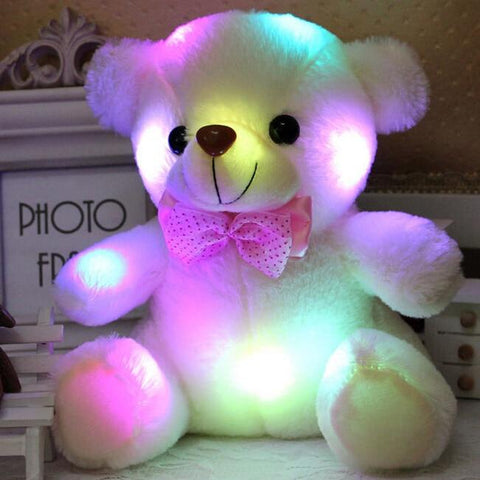 20CM Colorful Glowing  Luminous Plush Baby Toys Lighting Stuffed Bear Teddy Bear Lovely Gifts for Kids - MH
