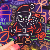 1MB 50 PCS Neon Christmas Sticker Anime Cute Reindeer Decals Stickers Gifts for Children to Laptop Luggage Guitar Fridge Bicycle Car - MH