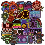 1MB 50 PCS Neon Light Sticker Anime Icon Animal Cute Decals Stickers Gifts for Children to Laptop Suitcase Guitar Fridge Bicycle Car - MH