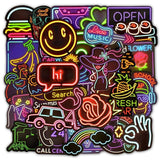 1MB 50 PCS Neon Light Sticker Gifts Toys for Children Anime Animal Cute Decals Stickers to Laptop Phone Suitcase Guitar Fridge Car - MH