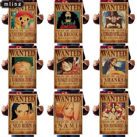4MB 51.5x36cmOne Piece Wanted Vintage Paper Poster - MH