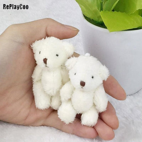 6PCS/Lot Mini Joint Bear Stuffed Plush Toys 6.5cm Cute White Teddy Bears Pendant Dolls Gifts Birthday Wedding Party Decor J00301 - MH