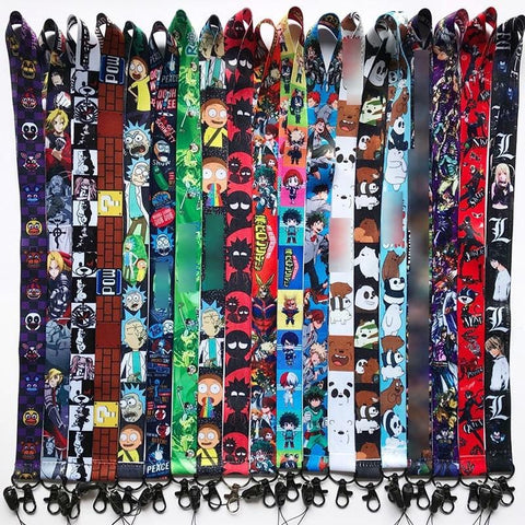 1MB Anime Cartoon Neck Strap Lanyard My Hero Academia Danganronpa Persona P5 Rick and Morty N7 ID badge holder Keychain Lanyards - MH