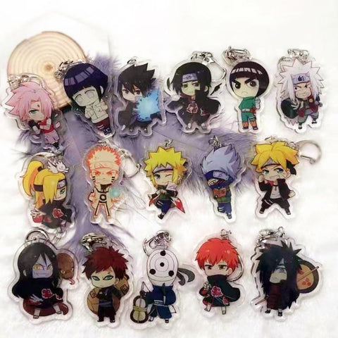 1MB Anime Naruto acrylic keychain Uchiha Obito Deidara Sasori Uchiha Itachi cartoon double-sided pendant Keyring Jewelry Accessory - MH