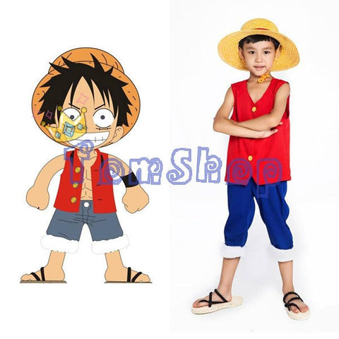 4MB One Piece Monkey D Luffy Kids Cosplay Child Full Set (Tops+pants+Hat) - MH