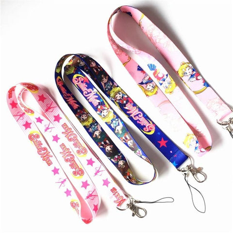 1MB Anime Sailor Moon Key Lanyard Cosplay Badge ID Cards Holders Neck Straps Keyring Keychain - MH
