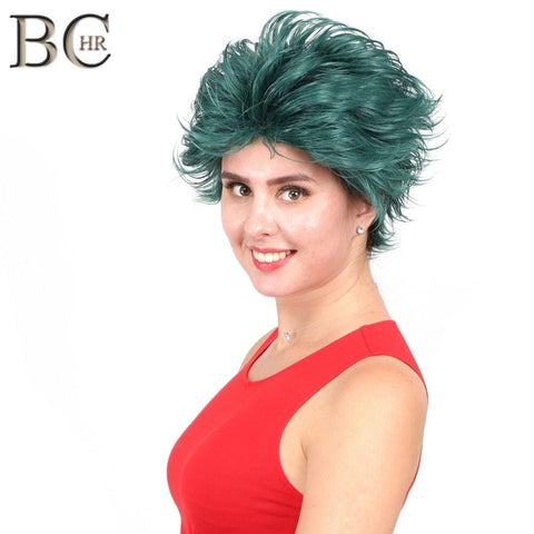 BCHR Short Anime Cosplay Deku Wigs Dark Green Synthetic Wig for My Boku no Hero Academia Midoriya Izuku Costume Wig - MH