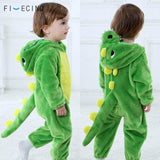 Baby Dinosaur Kigurumi Green Animal Cartoon Cosplay Costume Infant Child Bodysuit Onepiece Onesie Flannel Comfortable Fantasias - MH