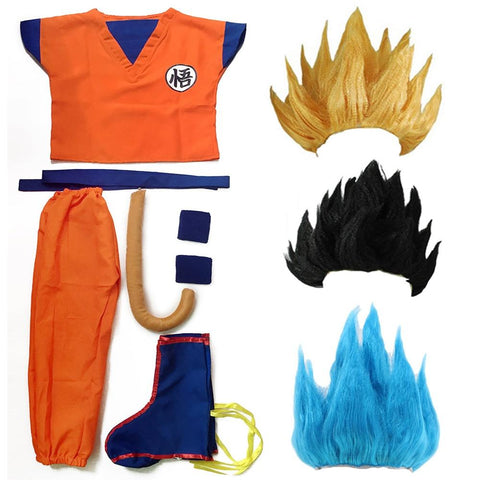 2MB Dragon Ball Z Clothes Suit Son Goku Cosplay Costumes Top/Pant/Belt/Tail/wrister/Wig For Adult Kids 6 SIZE Children's Day Gift - MH