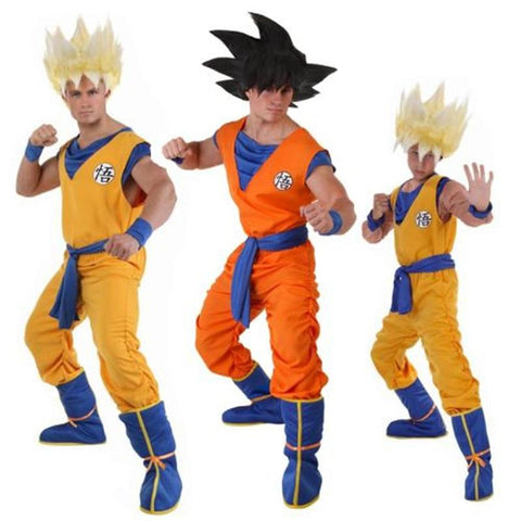 2MB Dragon Ball Z Suit Son Goku Cosplay Costumes Top/Pant/Belt/Tail/wrister/Wig For Adult Kids - MH