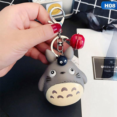 1MB Fashion Keychains Cute Kawaii Kitten Cat Key Chain Ring Anime Totoro Keychain Creative Trinket Charm Women Girl Kids Keyring - MH