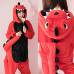 Flannel Kigurumi Dinosaur Onesies For Adults spyro the dragon Women dinosaur pajamas overall Whole Onepiece Animal Pajamas - MH