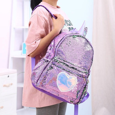 2MB Girls Fashion Sequins Unicorn Backpack Women PU Leather Large Capacity Bag Girl Book Bag Satchel School Bag For Teenager Student - MH