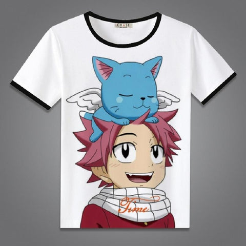 5MB Unisex Anime Fairy Tail  Natsu Dragneel Lucy Heartfilia Erza Scarlet Cotton Casual Short Sleeve Tee - MH
