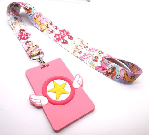 1MB Hot Sale!  1 pcs Japanese anime Cardcaptor Sakura Lanyard Key Chains Card Holders Bank Card Neck Strap Card Bus ID Holders P03 - MH