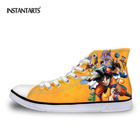 2MB INSTANTARTS Dragon Z Ball Men High Top Canvas Shoes Cool Dragon Ball Super Blue Character Son Goku Vegeta Man Vulcanize Sneakers - MH