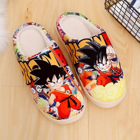 2MB Japanese Anime Shoes Dragon Ball Son Goku Winter Warm Plush Men Women Shoes Home Slippers free shipping - MH