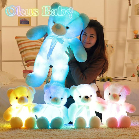 Luminous 30/50/80cm Creative Light Up LED Teddy Bear Stuffed Animal Plush Toy Colorful Glowing Teddy Bear Christmas Gift for Kid - MH