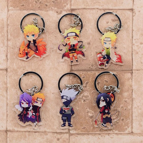 1MB Naruto Keychain Cute Acrylic Key Chain Ring Pendant Cartoon Key Ring Anime Accessories - MH