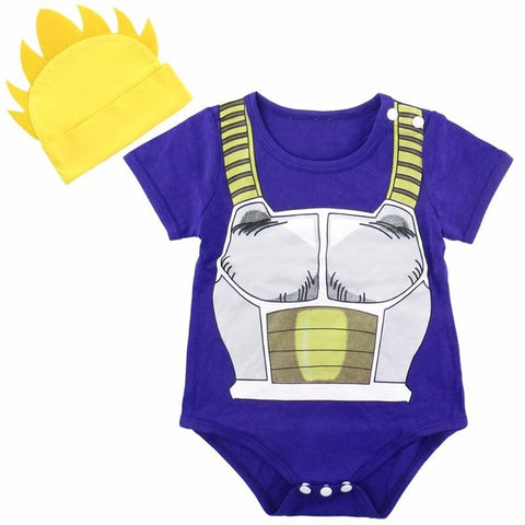 2MB Newborn Baby Boys Bodysuit Dragon Ball Z Costume Vegeta Infant 2PCS Set with Hat 0-18 Months - MH
