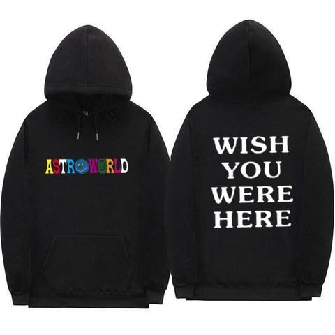 TRAVIS SCOTT ASTROWORLD WISH YOU WERE HERE HOODIES fashion letter ASTROWORLD HOODIE streetwear Man woman Pullover Sweatshirt - MH