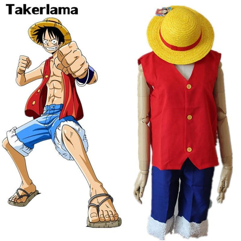 4MB One Piece Monkey Costume Full Set Uniform ( Top + Shorts + Hat ) For Adults - MH