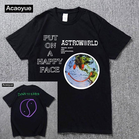 Travis Scott Lollapalooza Astroworld Smiley World T-Shirt Men's and Women's Summer Cotton T-Shirt Harajuku Hip Hop 2018 - MH