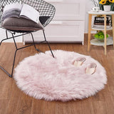 Urijk Pink Soft Faux Fur Wool Carpets Living Room Sofa Plush Carpet Bedroom Cover Mattress Xmas Door Window Round Rugs Carpets - MH