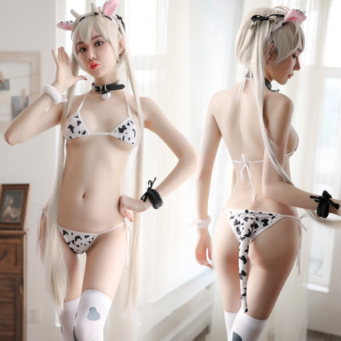 1MB Women Sexy Cow Cosplay Costume Three-point Bikini Set Swimsuit Anime Girls Swimwear Clothing Lolita Bra and Panty Set Nightgown - MH