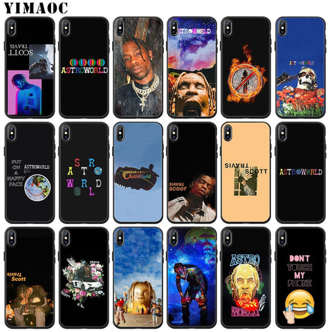 YIMAOC travis scott astroworld Soft Silicone Phone Case for iPhone 11 Pro XS Max XR X 6 6S 7 8 Plus 5 5S SE 10 TPU Black Cover - MH