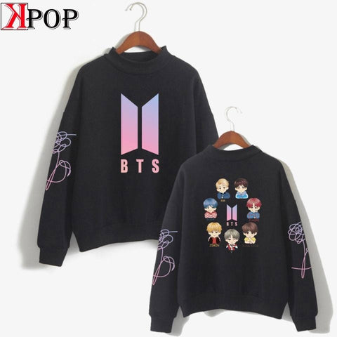 bangtan Boys korean style Fashion  turtleneck O-neck Sweatshirts kpop Women Oversize outwear kpop Bangtan Clothes 2019 Arrival - MH